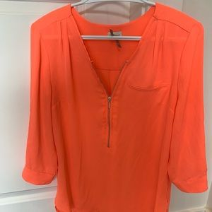 Bright coral dynamite zip up blouse